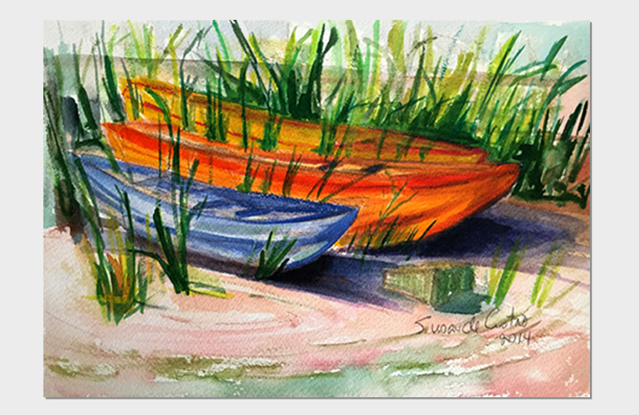 Canoes Davis Park 9x12 Watercolor