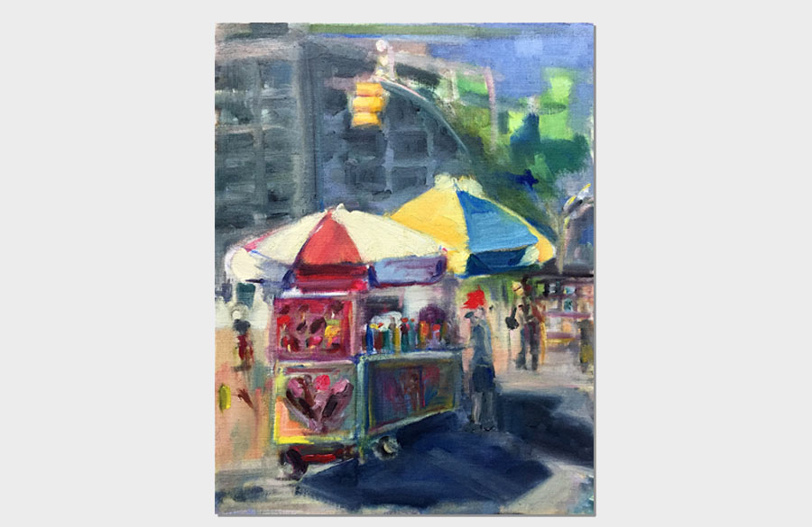 Columbus Circle Food Trucks 16x18 Oil