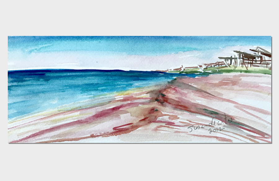 Low Tide Ocean Ridge Fire Island 3x10 Watercolor