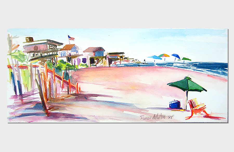 Near 5th Walk Davis Park Fire Island  3x10 Watercolor