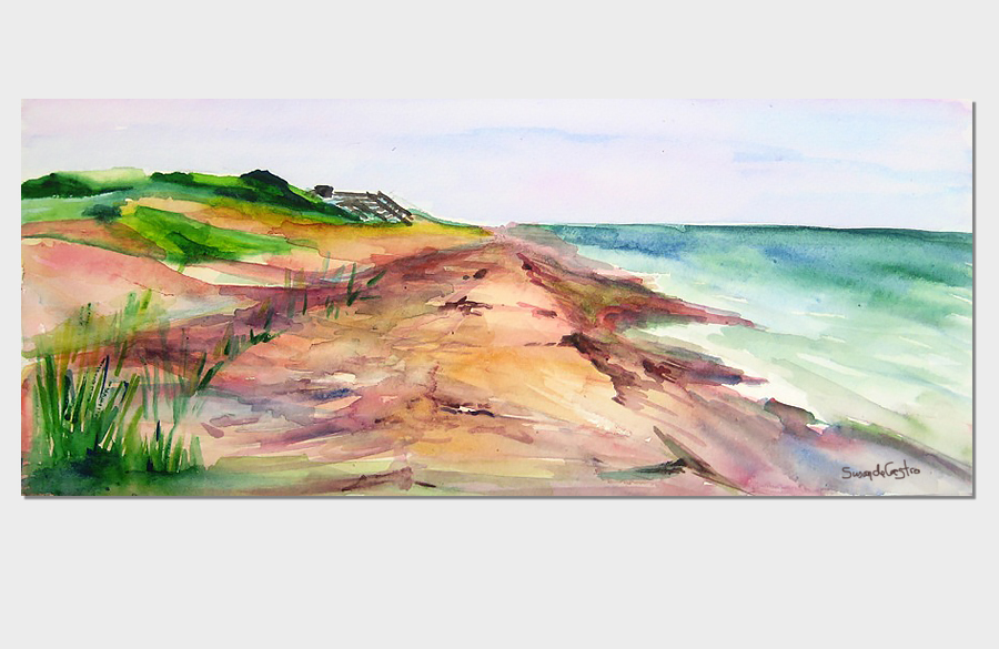 Ocean Ridge Beach Fire Island 3x10 Watercolor