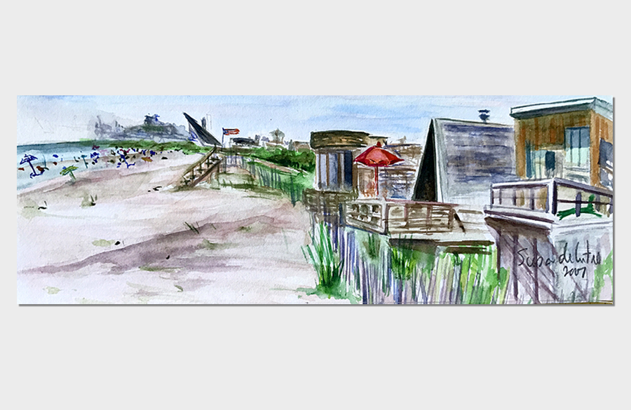 Ocean Ridge Fire Island 3x10 Watercolor