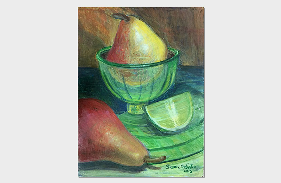 Lime and Pear 6x8 Egg Tempera