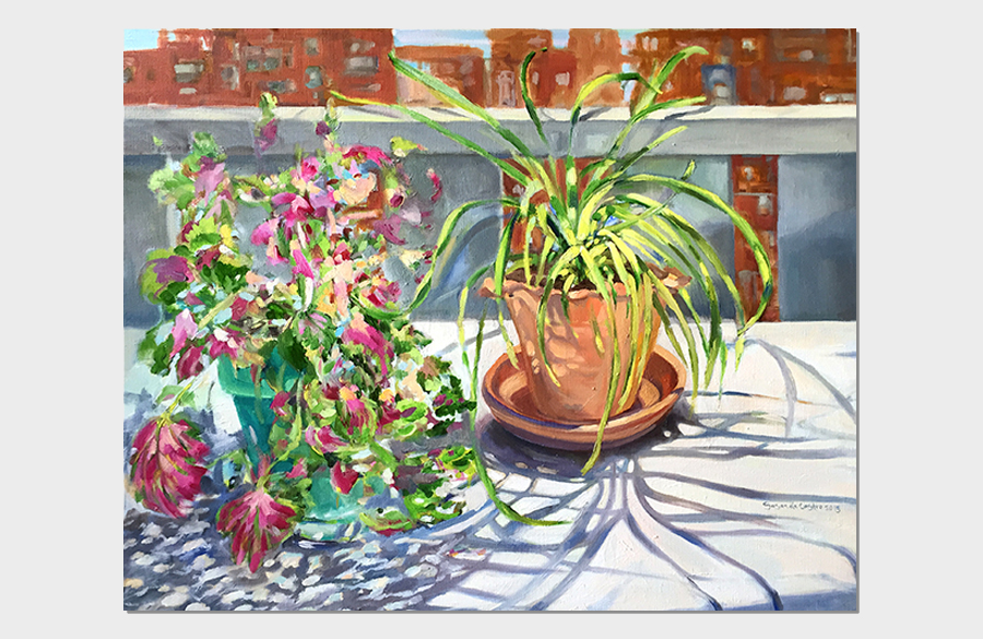 Plants and Dancing Shadows on My Balcony 18x24 Oil